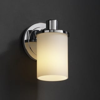 Justice Design Group 1-light Flat Rim Opal Cylinder Polished Chrome Wall Sconce