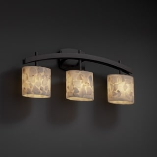 3-light Arch Alabaster Rocks Dark Bronze Bath Bar Fixture