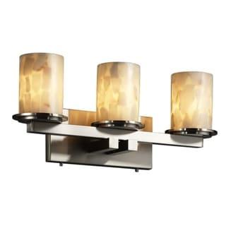 Justice Design Group 3-light Flat Rim Cylinder Alabaster Rocks Bath Bar Fixture