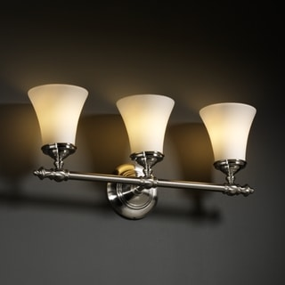 3-light Round Flared Opal Brushed Nickel Bath Bar Fixture