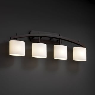 Justice Design Group 4-light Arched Oval Opal Dark Bronze Bath Bar Fixture