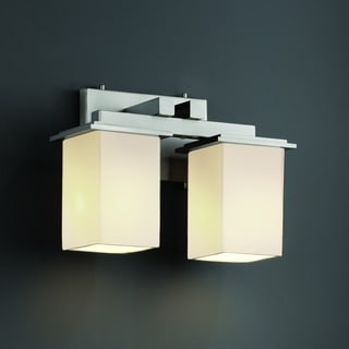 2-light Flat Rim Square Opal Bath Bar Fixture