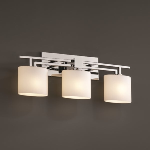 justice design group 3 light opal oval polished chrome bath bar fixture 15277163 overstock. Black Bedroom Furniture Sets. Home Design Ideas