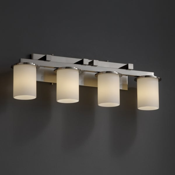Justice Design Group 4 Light Flat Rim Opal Brushed Nickel Bath Bar Fixture 15277166