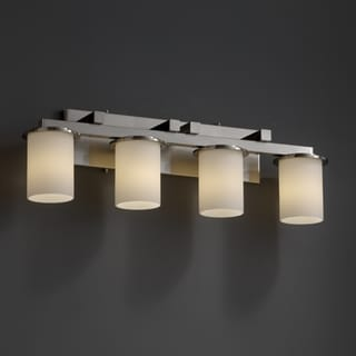 4-light Flat Rim Opal Brushed Nickel Bath Bar Fixture