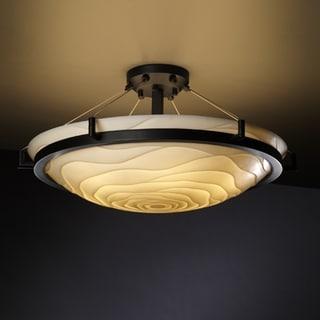 Justice Design Group 6-light Round Ring Waves Dark Bronze Semi-flush Fixture