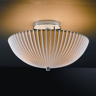 2-light Round Pleats Polished Chrome Semi-flush Fixture