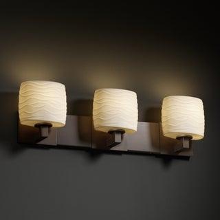 Justice Design Group 3-light Oval Waves Dark Bronze Bath Bar Fixture