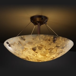 3-light Round Alabaster Rocks Dark Bronze Semi-flush Fixture