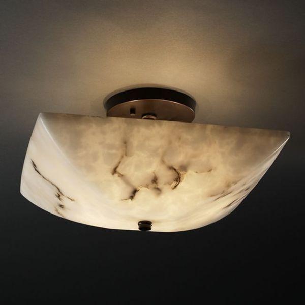 Justice Design Group 2-light Square Dark Bronze Semi-Flush Bowl Fixture