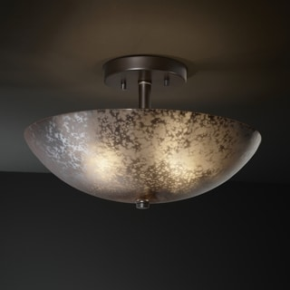 2-light Round Mercury Glass Dark Bronze Semi-Flush Fixture
