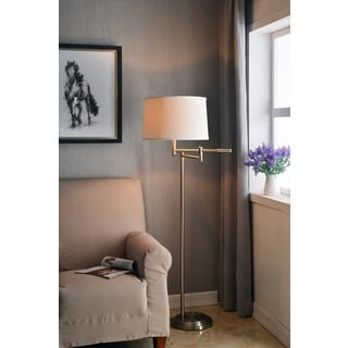 Aldrin Brushed Steel Swing Arm Floor Lamp