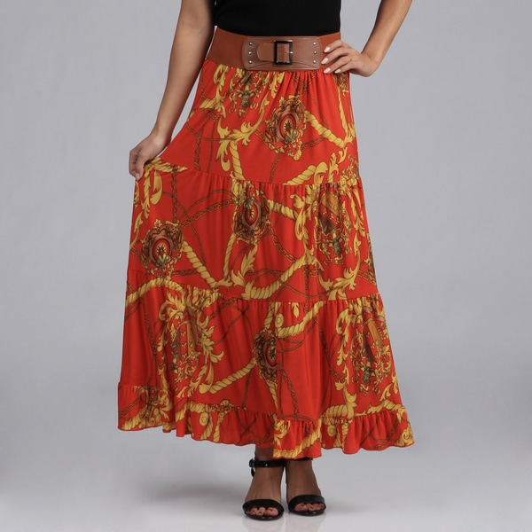 Meetu Magic Women's Red Printed ITY Tiered Maxi Skirt