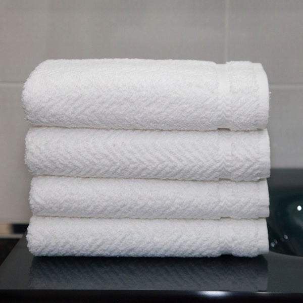 Authentic Plush Herringbone Weave Hotel and Spa Turkish Cotton White Hand Towels (Set of 4)