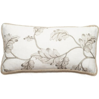 Embroidered Leaves 17-inch x 11-inch Throw Pillow