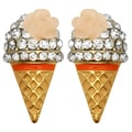 Kate Marie Goldtone Rhinestone Ice Cream Cone Earrings