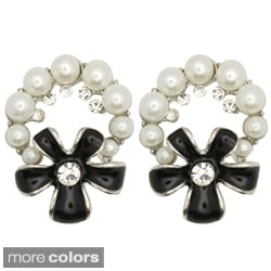 Kate Marie Silvertone Faux Pearl and Rhinestone Flower Earrings