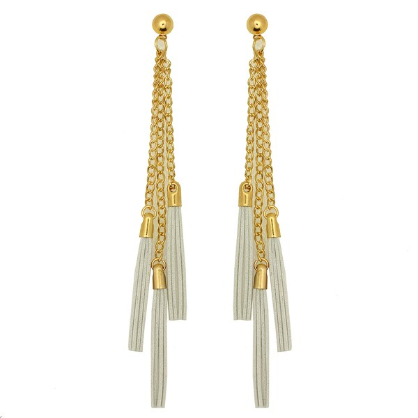 Kate Marie Goldtone and White Leather Tassel Earrings