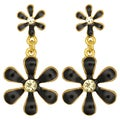 Kate Marie Goldtone Rhinestone and Enamel Flower Earrings