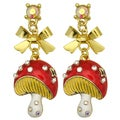 Kate Marie Goldtone Rhinestone and Enamel Mushroom Earrings