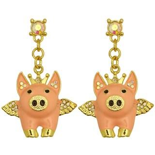 Kate Marie Goldtone Rhinestone Winged Pig Earrings