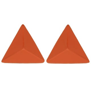Kate Marie Orange Enamel Pyramid Design Fashion Earrings