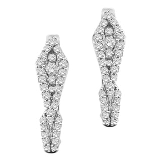 10k White Gold 1/2ct TDW Diamond Hoop Earrings (H-I, I1)