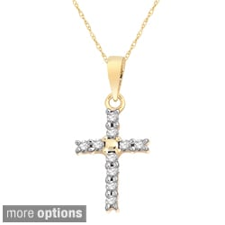 10k Two-tone Gold 1/10ct TDW Diamond Cross Necklace (H-I, I1-I2)