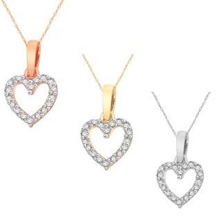 10k White, Yellow or Rose Gold 1/10ct TDW Diamond Heart Pendant Necklace (H-I, I2)