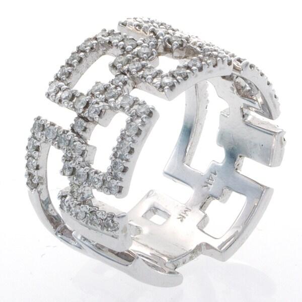 14k White Gold 5/8ct TDW Diamond Geometric Ring (I-J, I1-I2)