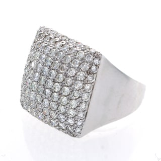18k White Gold 3 7/8ct TDW Pave Diamond Ring (I-J, I1-I2)