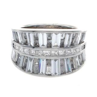 Platinum 3 3/8ct TDW Princess and Baguette Diamond Anniversary Ring (I-J, I1-I2)