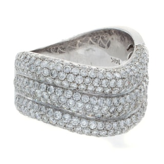 14k White Gold 3 2/5ct TDW Pave Diamond Wave Multi Row Ring (H-I, SI1-SI2)