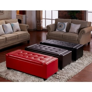 Contemporary Leatherette Storage Ottoman Bench