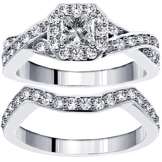 14k/ 18k White Gold 1 1/3ct TDW Diamond Braided Bridal Ring Set (G-H, SI1-SI2)