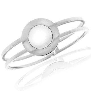 Moise Steel Created Mother of Pearl Circle Inlay Hinged Bangle Bracelet
