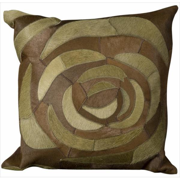 Mina Victory Natural Leather and Hide Rose Green Throw Pillow (20-inch x 20-inch) by Nourison