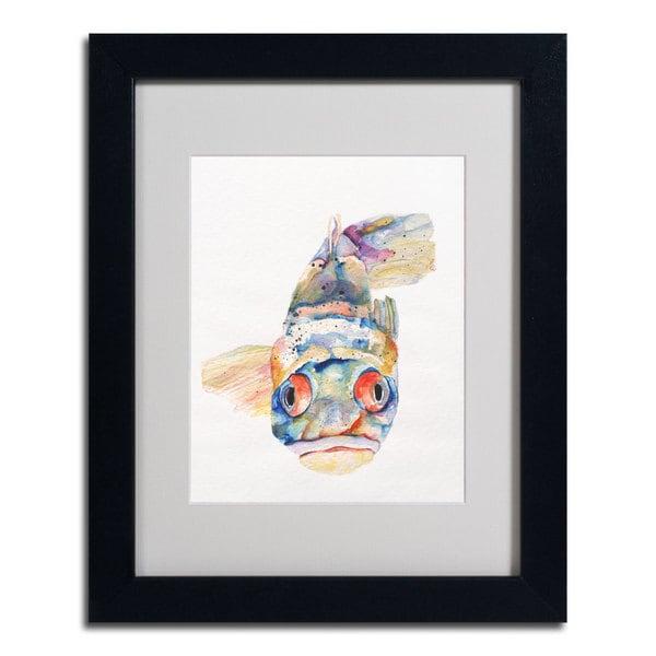 Pat Saunders-White 'Blue Fish' Framed Matted Art