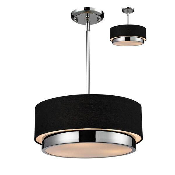 chrome 3 light black drum shade pendant ceiling fixture lamp vintage