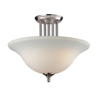 Athena 3-light Matte Opal Glass Dome Semi-flush Mount Light