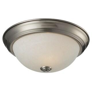 Athena 1-light Brushed Nickel White Mottle Glass Flush Mount