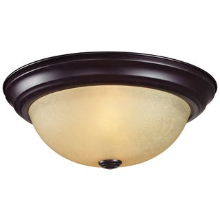Athena Bronze Two-Light Glass Ceiling Fixture