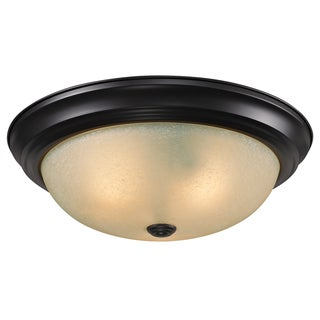 Athena Bronze Amber Glass 3-Light Ceiling Fixture