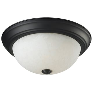 Athena Bronze Two-Light White Glass Ceiling Fixture