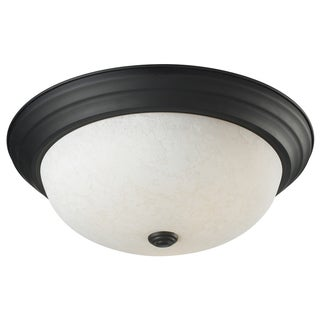 Athena Bronze White Glass 3-Light Ceiling Fixture