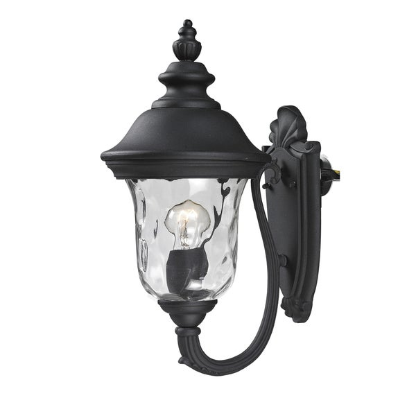 Armstrong 1-light Black Outdoor Wall Light with Line Switch