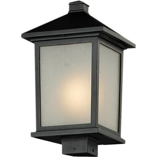 Holbrook Black Seedy Glass Outdoor Post Light Fixture with Line Switch