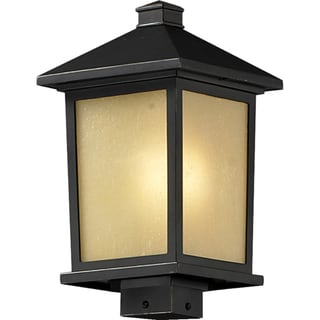 Holbrook Oil Rubbed Bronze Outdoor Post Light Fixture With Line Switch 1527