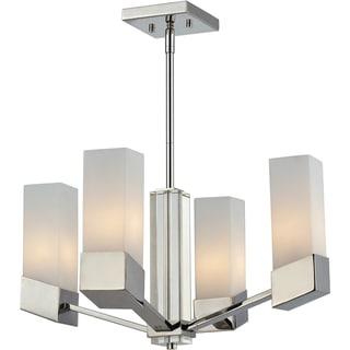 Zen Crystal Column 4-light Chrome Chandelier