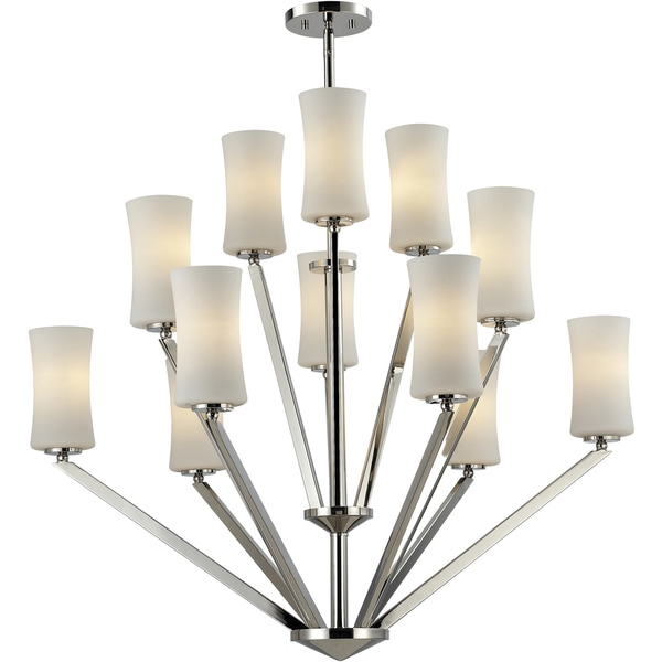 Elite Chrome Twelve-Light Angled Chandelier